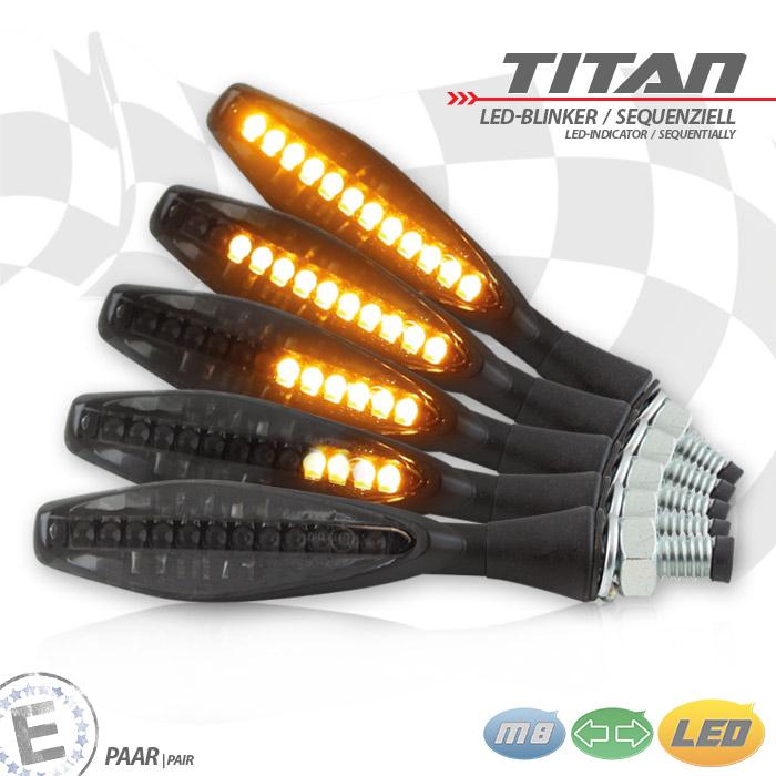 LED-Blinker | TITAN | SEQ | Alu | schwarz | M8 | Paar | getönt | L 85 x B 18,4 x H 15mm | E-geprüft