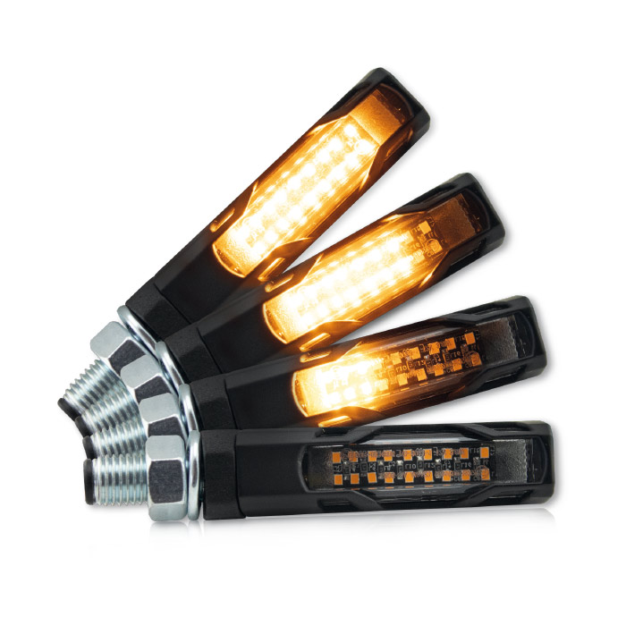 SMD-Blinker | EVO | SEQ | schwarz | Alu | M10 | getönt | Paar | L 58 x T 16 x H 16mm | E-geprüft