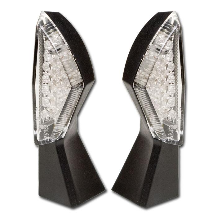 LED-Blinker SQUARE | schwarz | klar | Paar | M8 | L 44 x B 18 mm | E-geprüft