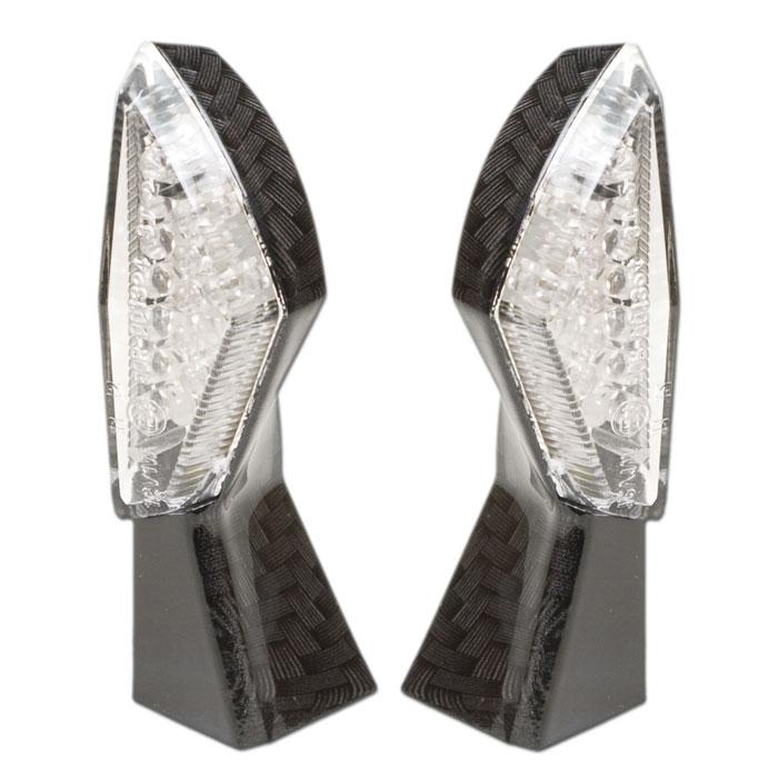 LED-Blinker SQUARE | carbon | klar | Paar | M8 | L 44 x B 18 mm | E-geprüft
