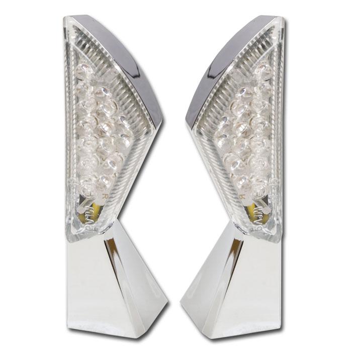 LED-Blinker SQUARE | chrom | klar | Paar | M8 | L 44 x B 18 mm | E-geprüft