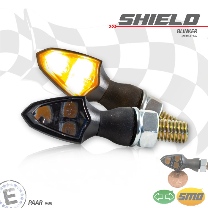 "SMD-Blinker ""SHIELD"", schwarz, getönt, Paar, M8, Maße: L 26 x B 16 x H 16,5 mm, E-geprüft"