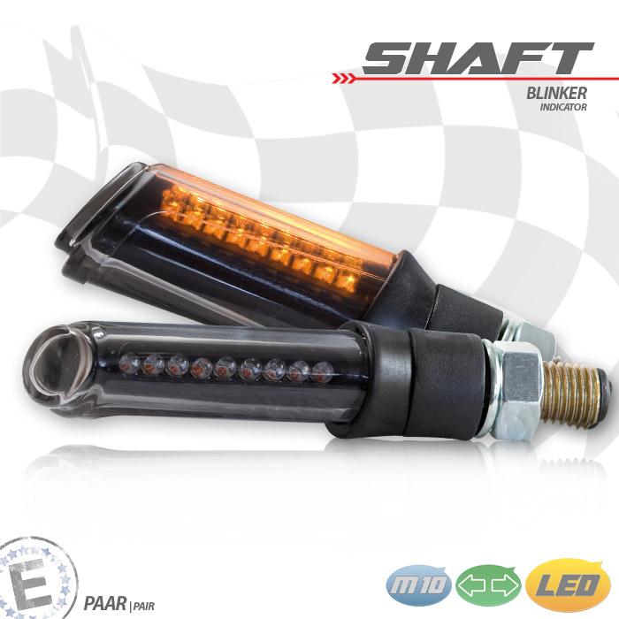 "LED-Blinker ""SHAFT"", schwarz, getönt, Paar, M10, Maße: L 64 x B 24 x H 17 mm, E-geprüft"