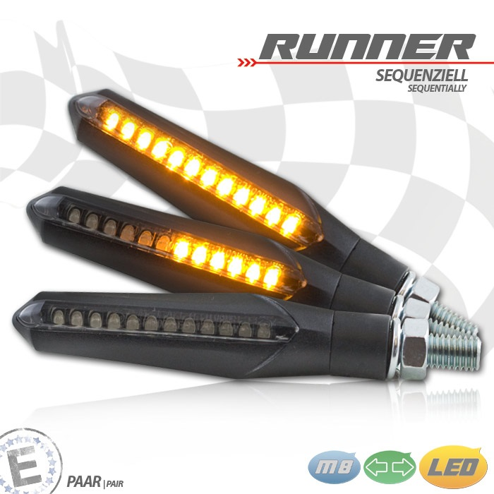 LED-Blinker RUNNER | sequenziell | schwarz | get.| Paar | M8 | L 70 x T 20 x H 23,5 mm | E-geprüft