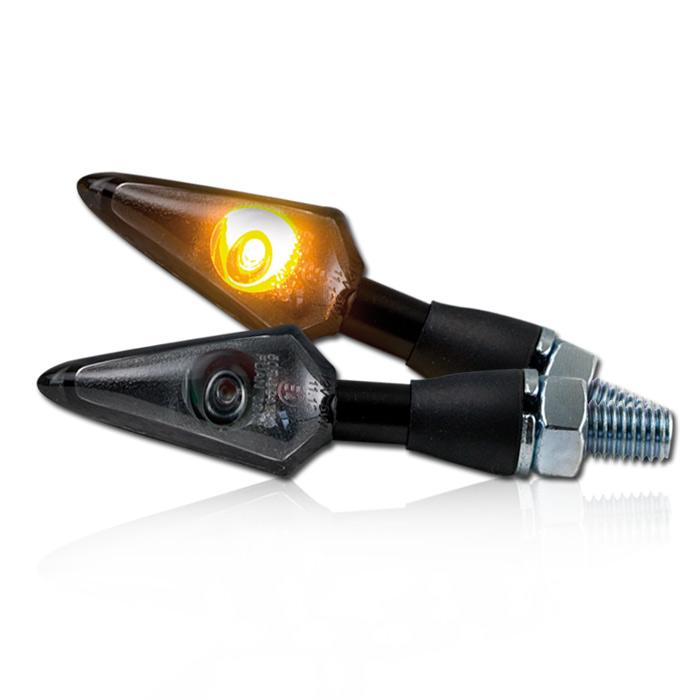 LED-Blinker SPEARHEAD | Alu | Schwarz | Getönt | Lang | M8 | Power LED | Gummiarm | E-geprüft*
