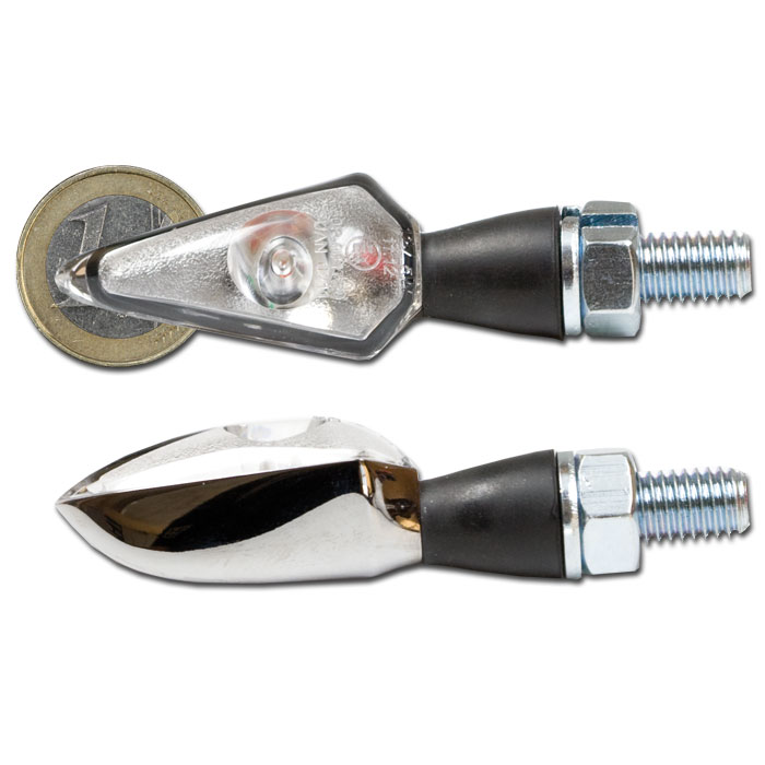 LED-Blinker SPEARHEAD | Alu | chrom | klar | Kurz | M8 | Power LED | Gummiarm | E-geprüft