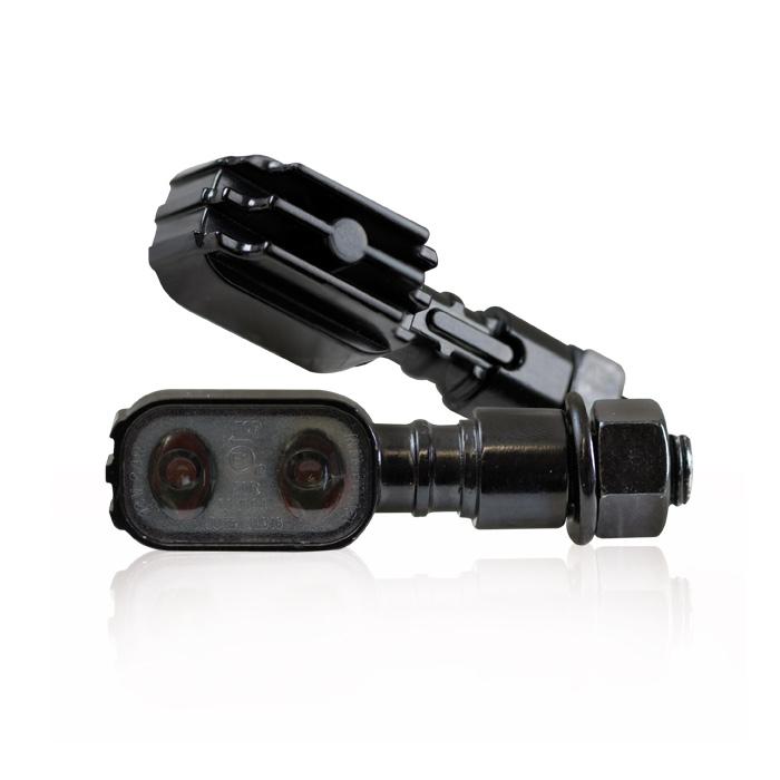"""LED-Blinker """"Fluted"""", schwarz, M10, getönt, Power-LED, L 51 x T 17 x H 20 mm, E-geprüft"""