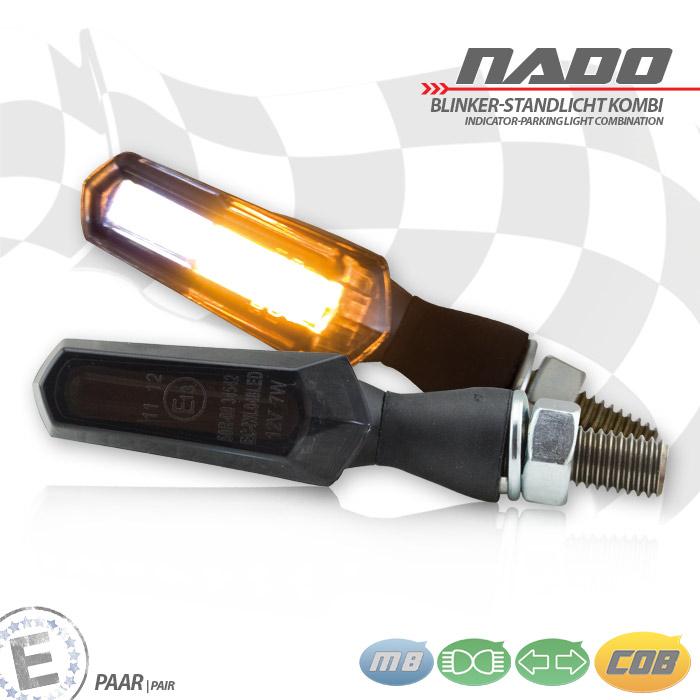 "COB-Blinker Standlichtkombi ""Nado"", schwarz, Alu, Paar, M8, L 48 x T 18 x H 20 mm, getönt, E-geprüft"