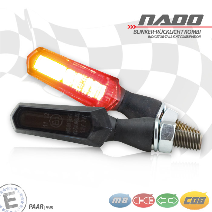 """COB-Blinker Rücklichtkombi """"Nado"""", schwarz, Alu, Paar, M8, L 48 x T 18 x H 20 mm, getönt, E-geprüft"""