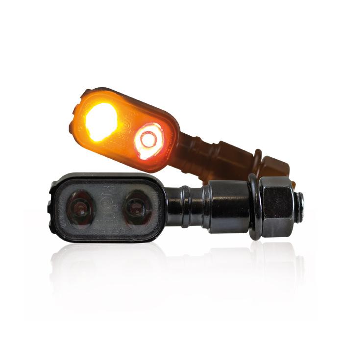 "LED-Blinker Rücklichtkombi ""Fluted"", schwarz, M10, Power-LED, L 51 x T 17 x H 20 mm, E-geprüft"