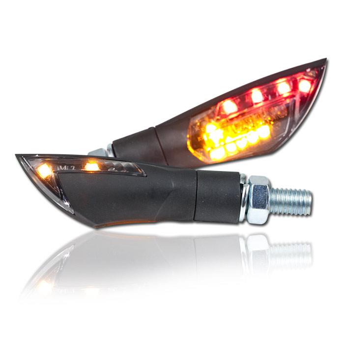 """LED-Blinker Rücklichtkombi """"Dual"""", schwarz, M8, Paar, L 50 x T 21 x H 21 mm, getönt, E-geprüft"""