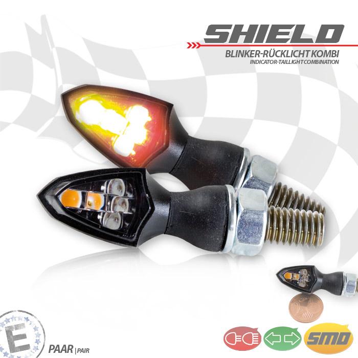 """SMD-Blinker Rücklichtkombi """"SHIELD"""", schwarz, get, Paar, M8, Maße: L 26 x B 16 x H 16,5 mm, E-geprüft"""