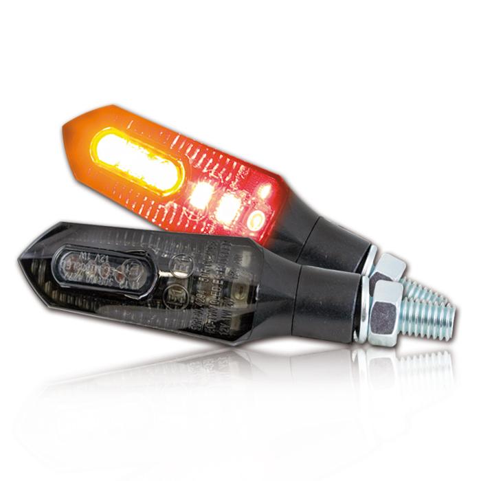 """LED-Blinker Rücklichtkombi """"Force"""", schwarz, ABS, M8, Paar, L 57 x T 22 x H 22 mm, getönt, E-geprüft"""