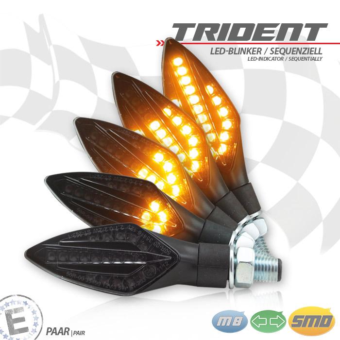 SMD-Blinker | TRIDENT | SEQ | schwarz | M10 | Paar | L 75 x B 27,5 x H 21mm | E-geprüft