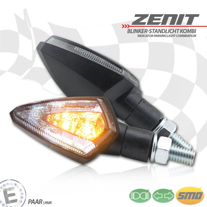 """LED-Blinker Standlichtkombi """"Zenit"""", schwarz, ABS, M8, Paar, L 53 x T 30 x H 27 mm, getönt, E-geprüft"""