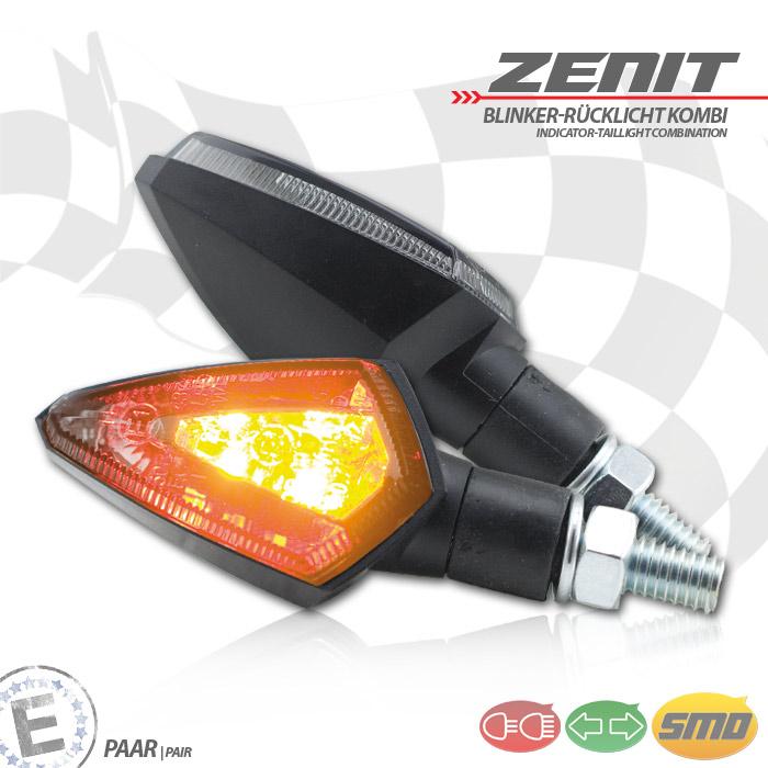 """LED-Blinker Rücklichtkombi """"Zenit"""", schwarz, ABS, M8, Paar, L 53 x T 30 x H 27 mm, getönt, E-geprüft"""