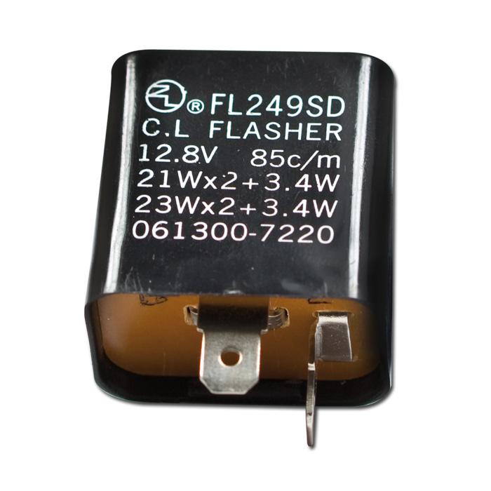 Blinkrelais mechanisch, 2-pol, 12V/21W x 2 + 3,4W, B=gesch. Plus, L=Signal, (passend. Adapter 286101)