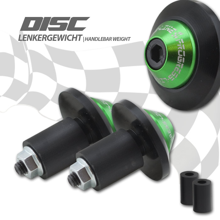 "Lenkergewichte ""Disc"", Alu, schwarz/grün, Ø 35mm, Paar, 7/8""+1"" Lenker mit I Ø 14-19 mm"