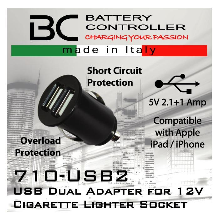 Doppel USB-Adapter für Motorrad Bordsteckdose 18mm 12-24V DC / max. 2100 mA,