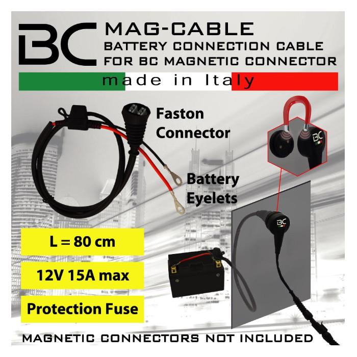 Batterie-Verbindundskabel mit Ösen, wasserdicht, (710-MAG-CABLE) Länge 80cm