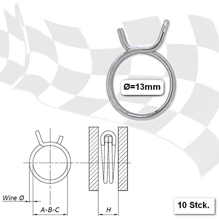 Benzinschlauchklemmen 13mm, stabile Ausführung, VPE = 10 Stück, aus glanzverzinktem Stahl