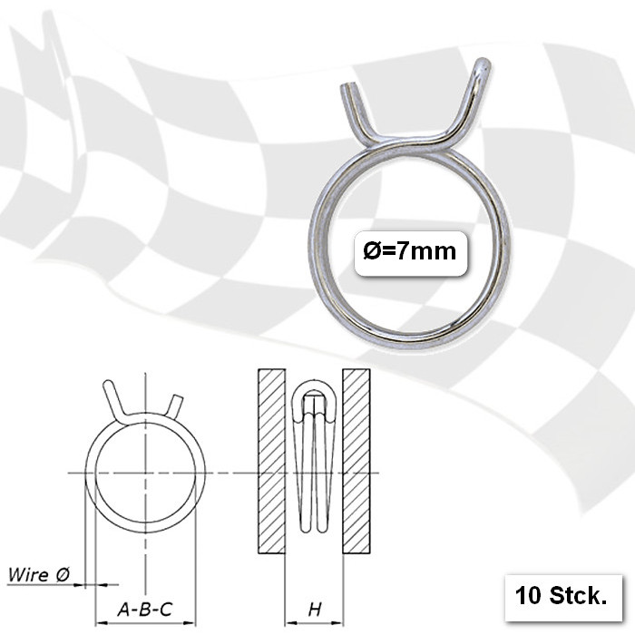 Benzinschlauchklemmen  7mm, stabile Ausführung, VPE = 10 Stück, aus glanzverzinktem Stahl