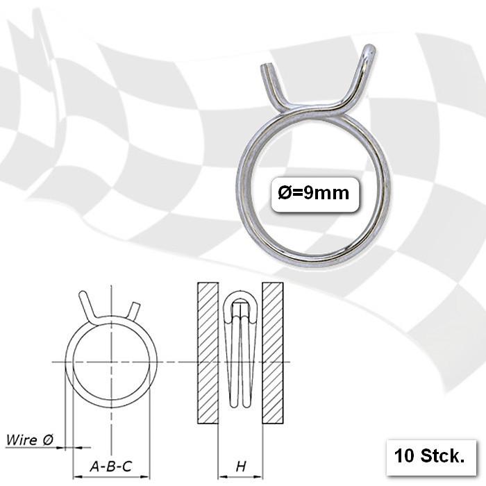 Benzinschlauchklemmen  9mm, stabile Ausführung, VPE = 10 Stück, aus glanzverzinktem Stahl
