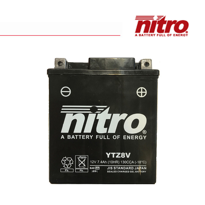 Batterie Nitro YTZ8V, geschlossen, DIN, Maße: L 113 x B 70 x H 130 mm