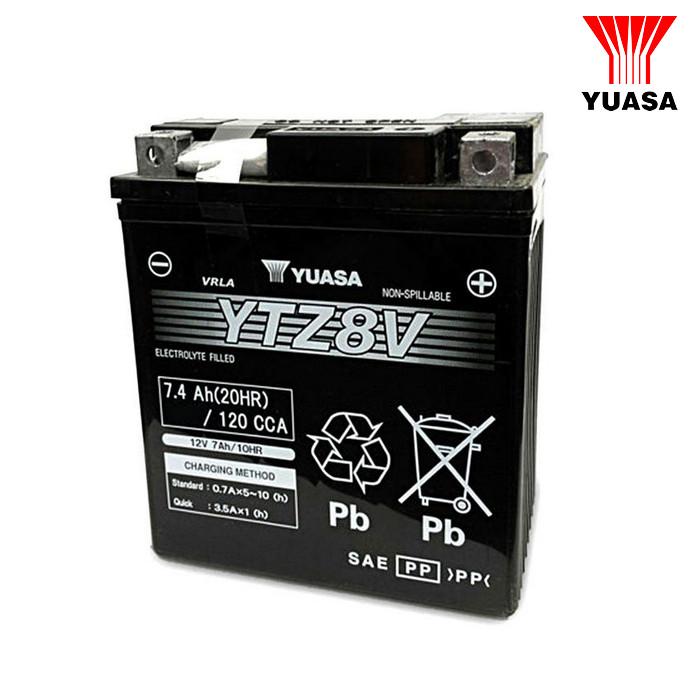 Batterie YUASA YTZ8V, geschlossen, Maße: L 113 x B 70 x H 130mm