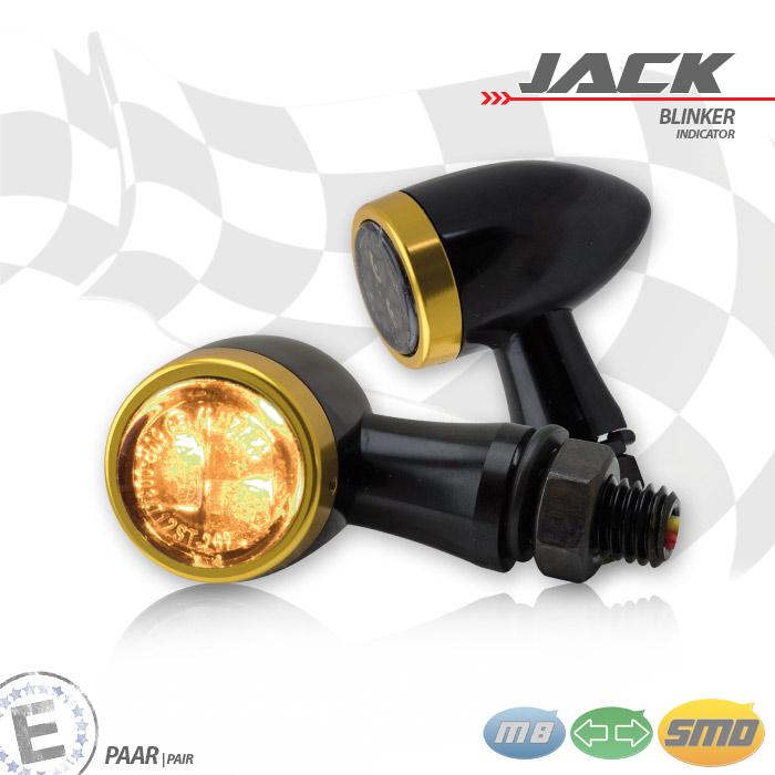 SMD-Blinkerset Jack | schwarz | Zierring gold | M8 | Alu | getönt | Ø 22 x T 37 mm | E-geprüft