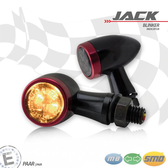 SMD-Blinkerset Jack | schwarz | Zierring rot | M8 | Alu | getönt | Ø 22 x T 37 mm | E-geprüft