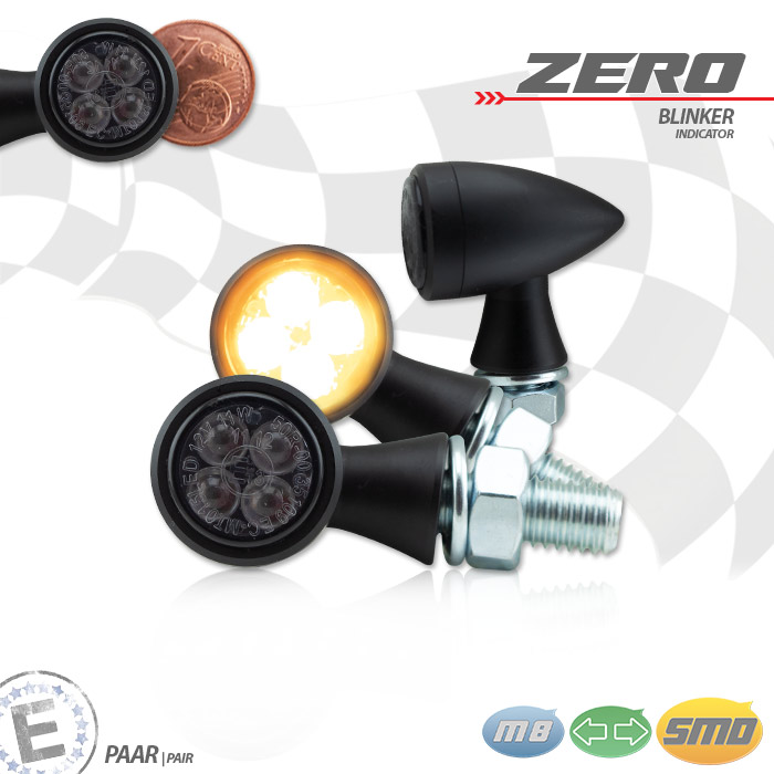 "SMD-Blinker ""Zero"" | Alu | schwarz | M8 | Alu | getönt | Ø 19,5 x T 31 mm | E-geprüft"