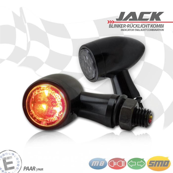 SMD-Blinker/RL-Set Jack | schw | Zierring schw | M8 | Alu | getönt | Ø 22 x T 37 mm | E-geprüft