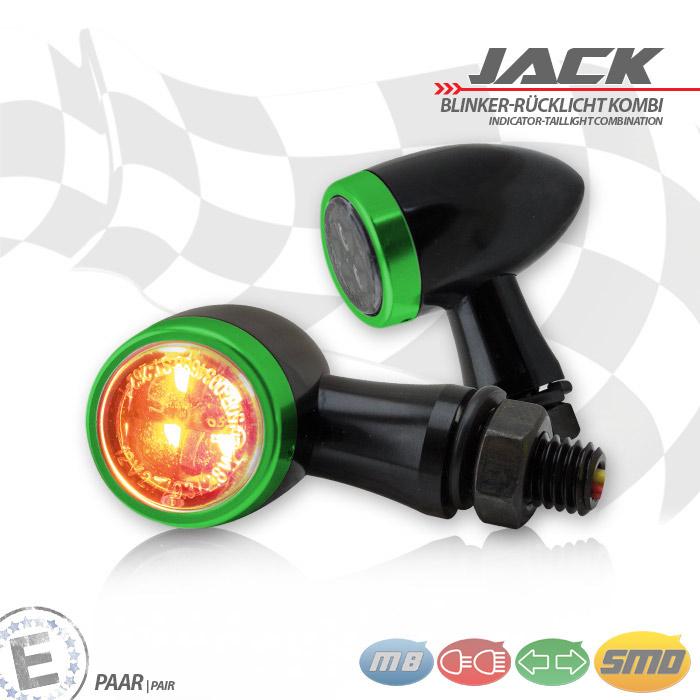 SMD-Blinker/RL-Set Jack | schw | Zierring grün | M8 | Alu | getönt | Ø 22 x T 37 mm | E-geprüft