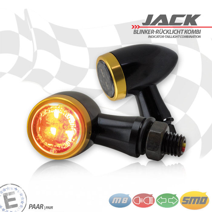 SMD-Blinker/RL-Set Jack | schw | Zierring gold | M8 | Alu | getönt | Ø 22 x T 37 mm | E-geprüft