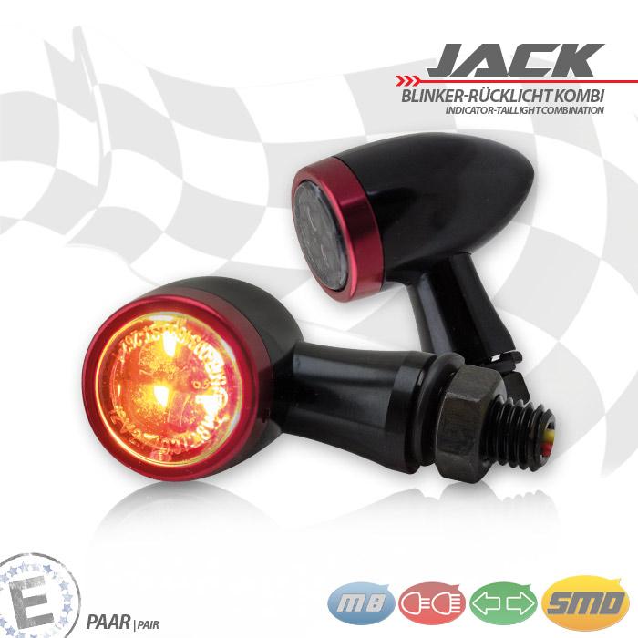 SMD-Blinker/RL-Set Jack | schw | Zierring rot | M8 | Alu | getönt | Ø 22 x T 37 mm | E-geprüft