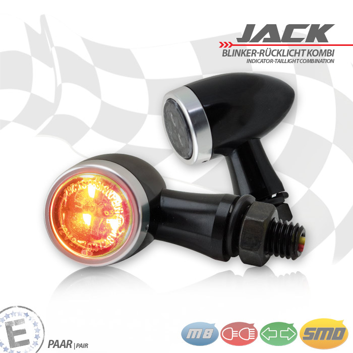 SMD-Blinker/RL-Set Jack | schw | Zierring silber | M8 | Alu | getönt | Ø 22 x T 37 mm | E-geprüft