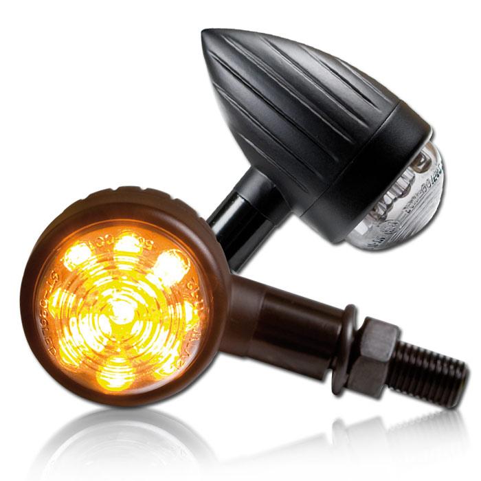 """LED-Blinker """"New Bullet"""", ALU-mattschwarz,M10x25mm lang, Grooved, getönt, Ø 38 L 72mm, E-geprüft"""