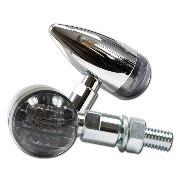 """LED-Blinker """"Mini Bullet"""", Alu, chrom, getönt, Maße: Ø 25mm L 43 x T 60mm, M8, E-geprüft"""