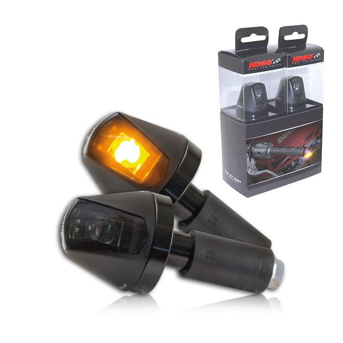 """ALU-Lenkerendenblinker """"KNIGHT"""", Hi-Power LED, Paar, schwarz, getönt, Maße: Ø 36 x T 36 mm, E-gep"""