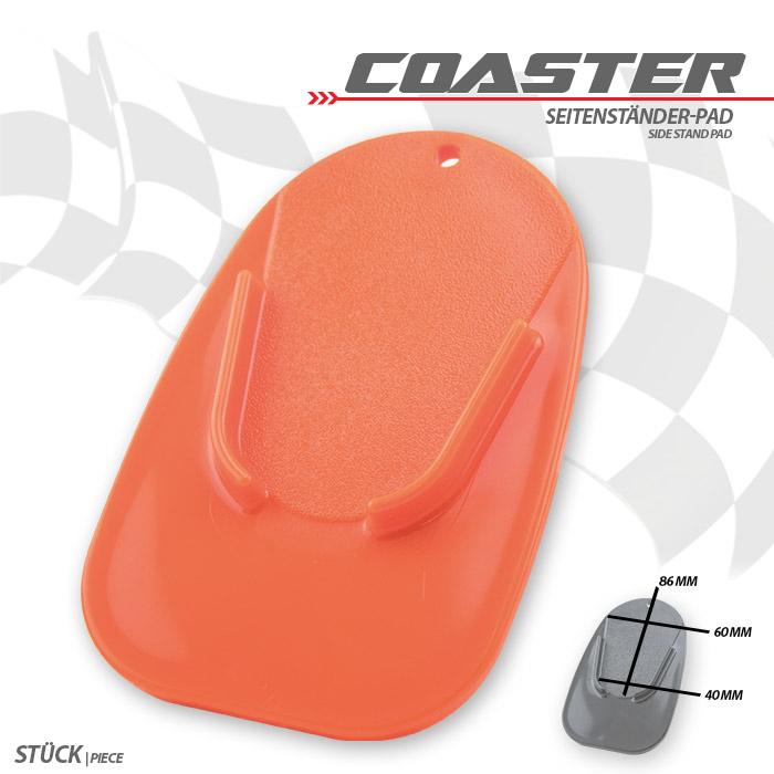"""Seitenständer-Pad """"Coaster"""", orange, ABS Maße: L 126 x B 85 x H 5 mm"""