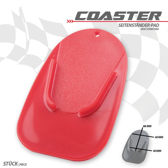 "Seitenständer-Pad ""Coaster"", rot, ABS Maße: L 126 x B 85 x H 5 mm"