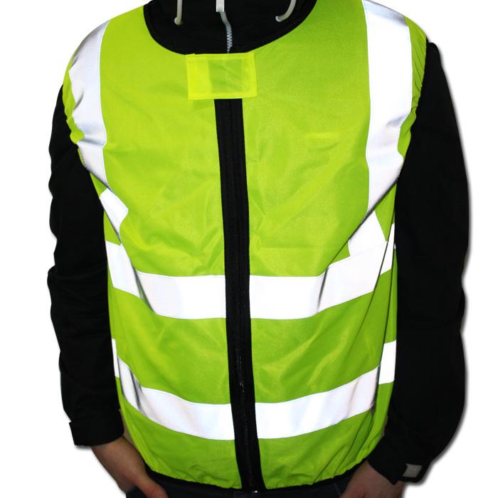 Warnweste Motorrad, Gelb EN ISO 20471, Größe XL, Front Reißverschluss, 100% Polyester