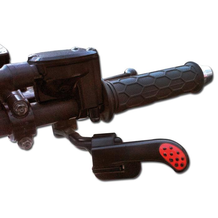 Daumen Gashebelunterstützung Quad/ATV, schw./rot, Kabelbinder 20 cm, Maße: L 85 x B 45 x T 22 mm,