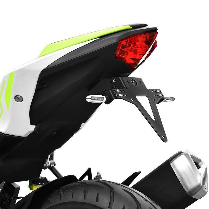 Kennzeichenhalter KAWASAKI Ninja / Z125 Bj. 19-, verstellbar, schwarz, inkl. Reflektorhalter