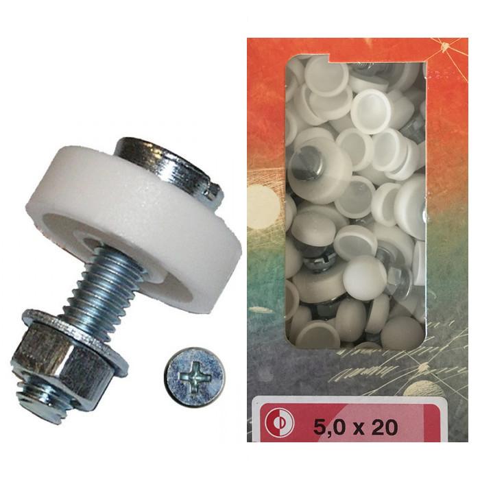 Nummernschildschrauben-Set | M5x20 | 100 Stck. | verzinkt mit Kappen weiß
