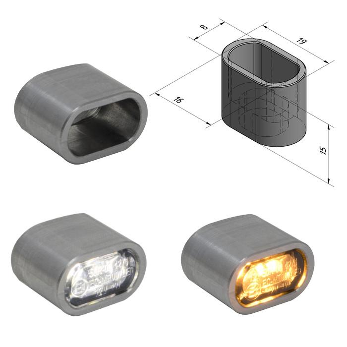 """Einschweissgehäuse für LED-Einbauleuchten, 284097 / 284400, """"Heat"""", Maße: B 19 x H 12 x T 15mm"""