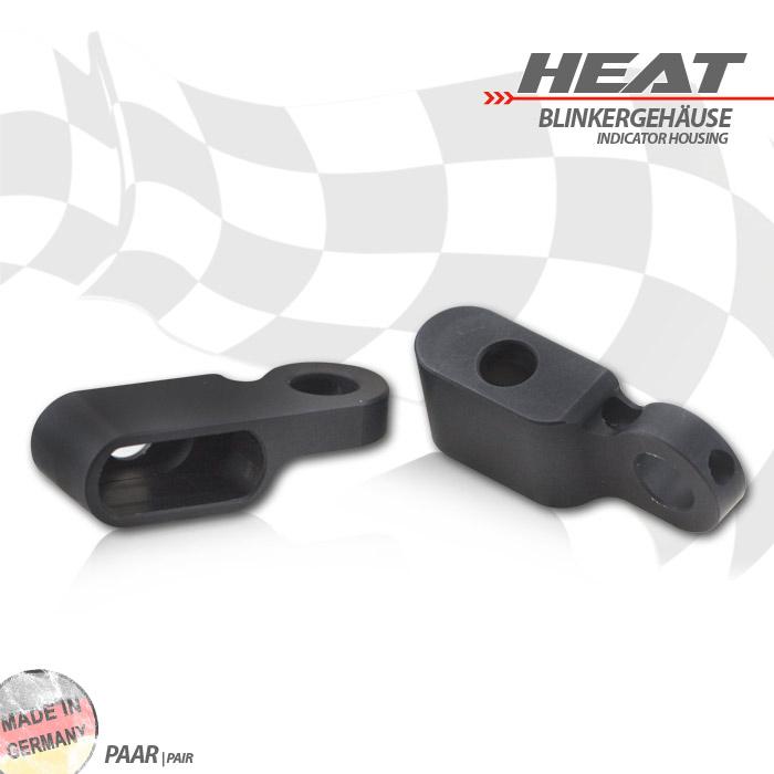 """CNC Alu-Gehäuse für Blinker """"Heat"""" 284096, Paar, schwarz"""