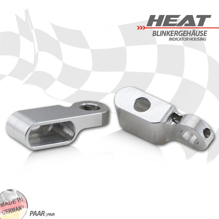 """CNC Alu-Gehäuse für Blinker """"Heat"""" 284096, Paar, silber"""