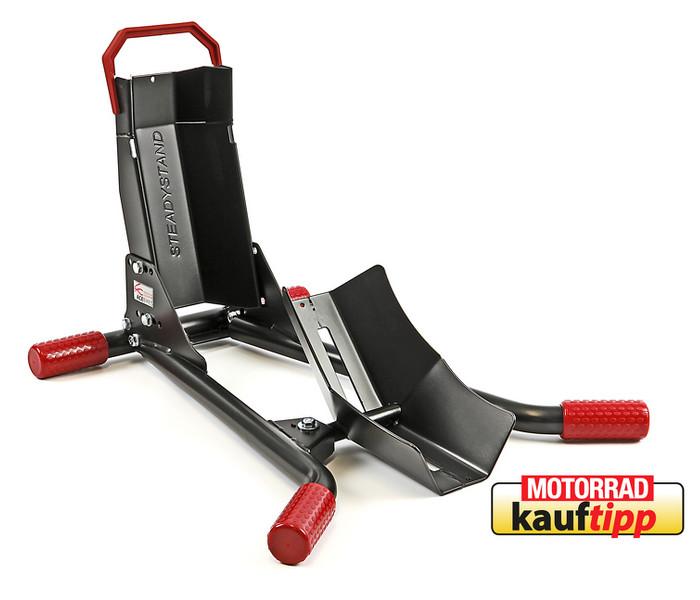 """Montageständer """"Steadystand Mobil"""", schwarz/rot, Reifenbreite 90-130 mm, Reifen Ø 15-19 Zoll"""